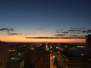 The view from my rooftop at 5:30 a.m.