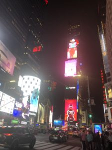 After a flight cancellation and a six-hour ride on a Greyhound bus, I unexpectedly ended up in Times Square.