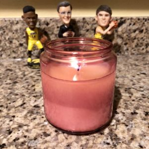 My design aesthetic: scented candles and Iowa basketball bobbleheads.